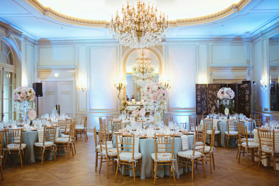 blue and pink ballroom wedding in san diego
